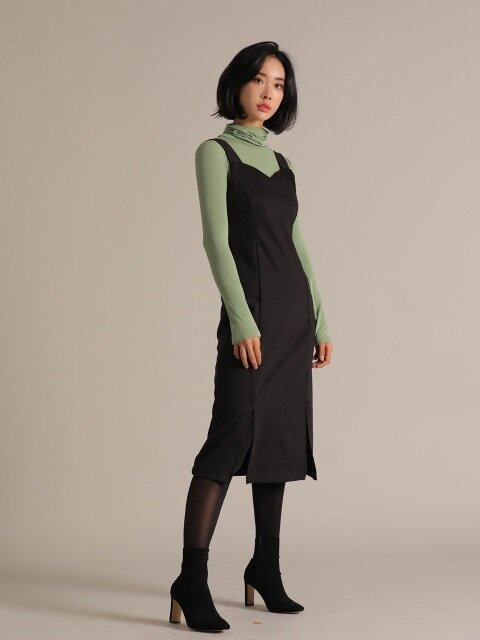 [SET] DIVIDEDNESS JUMPER SKIRT + BLACK&RR BASIC POLA GREEN