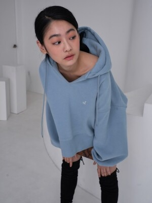 of logo hoodie top_haze blue