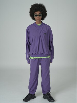 Woven line training pants-purple