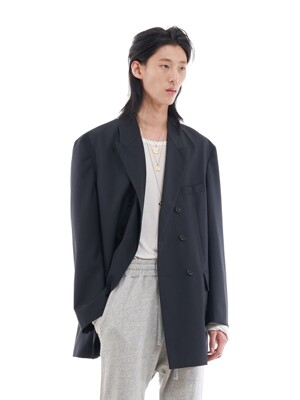 DOUBLE BRESATED OVERSIZED BLAZER _ CHARCOAL