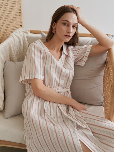 SUBTLE STRIPE DRESS BEIGE