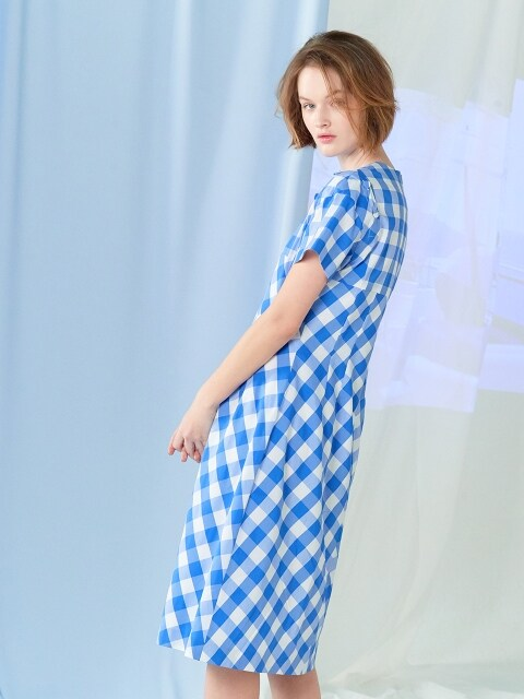 gingham check dress Blue