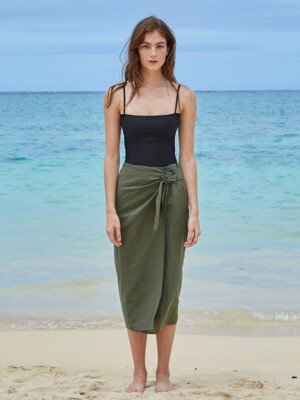 SQUARE WRAP SKIRT_DUSTY GREEN