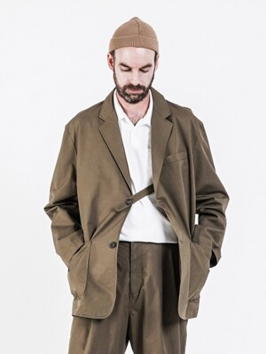 19FW LOOSE FIT SINGLE JACKET OLIVE