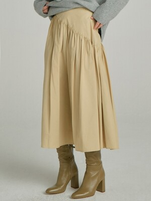 Shirring Long Skirt_Yellow
