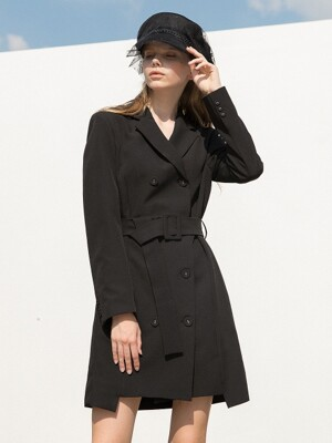 Double Jacket Belt Dress Black