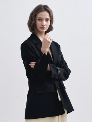WOOL MANNISH OVERFIT JACKET [BLACK]