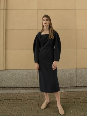 MODENA SQUARE NECK DRESS NAVY