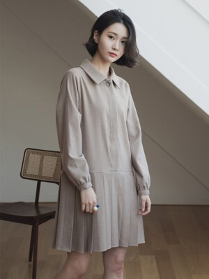 Pleated One-piece_beige