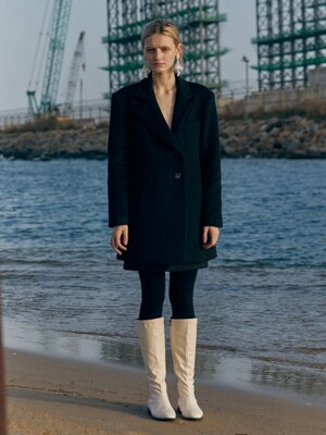 19 WINTER unbalanced tailored wool mini coat (black)
