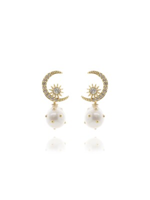 Golden Moon Pearl Drop Earrings