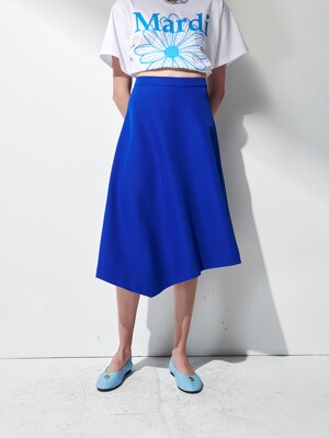 UNBALANCE MIDI SKIRT . BLUE