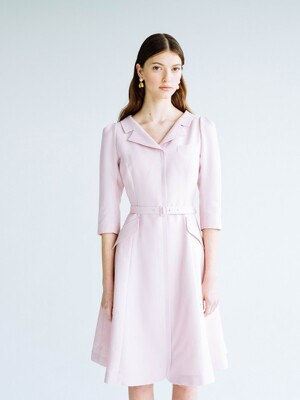 DIANA V-neck notched collar flared dress (Lilac Pink)