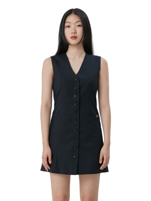 C BUTTON POINT DRESS_NAVY