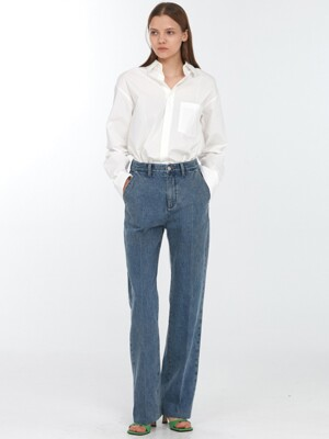 RELAXED STRAIGHT SLACK JEANS MID BLUE_UDPA0F203B2