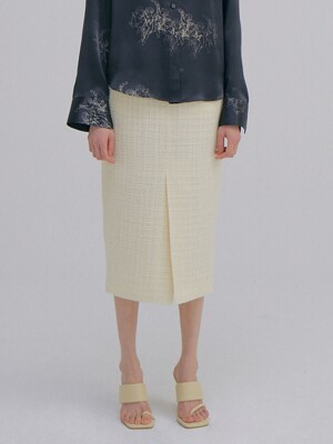 Tweed H line Skirt_Cream