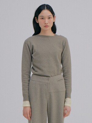 Unbalanced Cashmere Top_Khaki