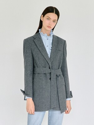 Herringbone Tailored Jacket in Ash