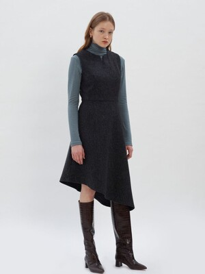 Unbalance Slit Point Dress_Deep Grey