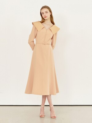 ANITA Wide collar flared dress (Apricot)