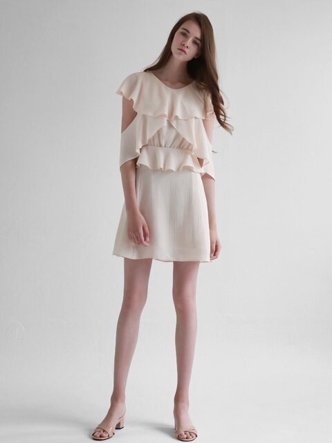 Ruffle Wing Chiffon Dress_Beige