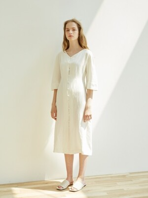 VNECK VOLUME DRESS_WHITE