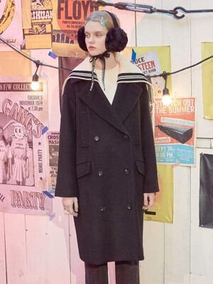 (CT-18708) KNIT DETACHABLE DOUBLE COAT BLACK
