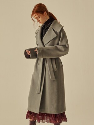 WOOL CASH WIDE COLLAR BELTED COAT_LIGHT ASH MINT