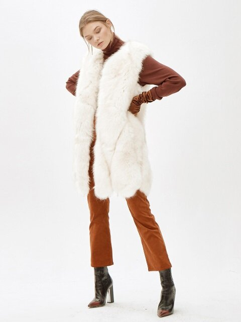 JINNY faux fur vest [WHITE]