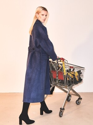 Drop shoulder cashmere coat [Ink Blue]