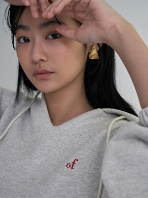 of logo hoodie top_light melange grey