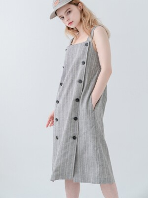 Overall Button Herringbone Dress Charcoal