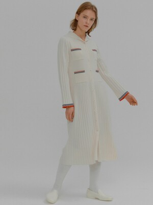 MINKLING Sailor Collar Pleated Knit Dress Ivory