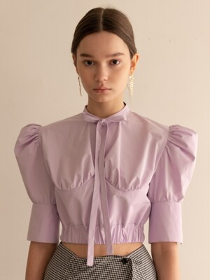 Half sleeved shirring ribbon blouse