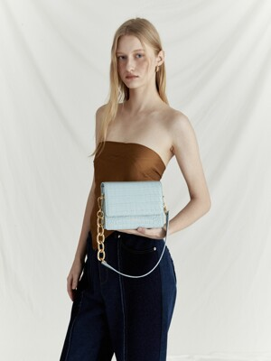 Mini Bold Chain Bag in Croc Skyblue