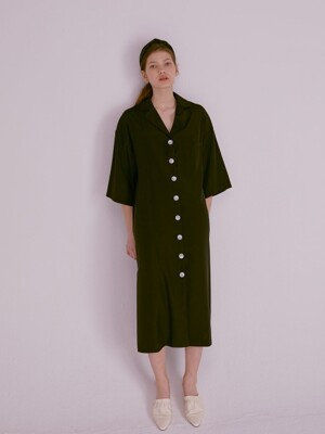 BIG BUTTON SILKY SHIRT DRESS_BLACK