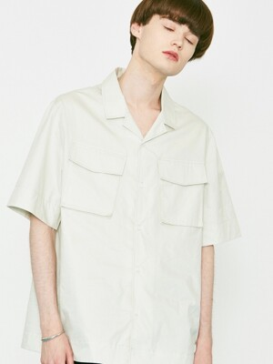 V456 TWO POCKET HALF-SHIRTS_LIGHT GRAY