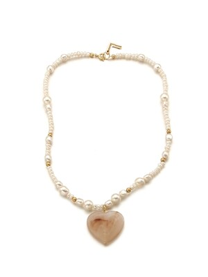 Vintage Heart Pearl Necklace