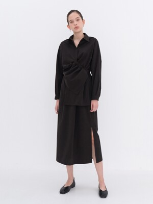 STRING SHIRRING UNBALANCE DRESS BLACK