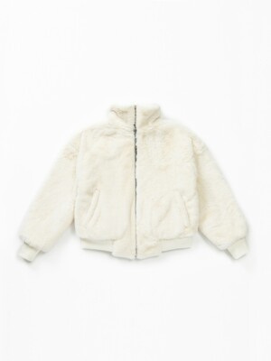 Casic Fur Zip-Up Jacket (WHITE IVORY)