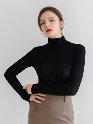 Wool Tencel Long Sleeve Turtle Neck Black