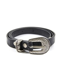 Patterned Leather Belt in Black_VX0ST0800