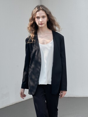 LOOSE FIT COLLARLESS JACKET [BLACK]