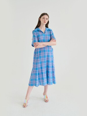 20' SUMMER_Vintage Blue Check Sailor Dress