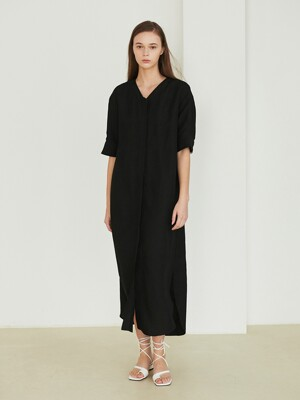 Back slit V-neck dress_Black
