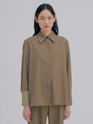 Coloration Cuffs Shirts_Khaki