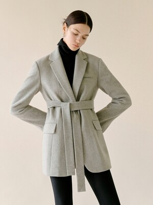 Herringbone Tailored Jacket in Grey