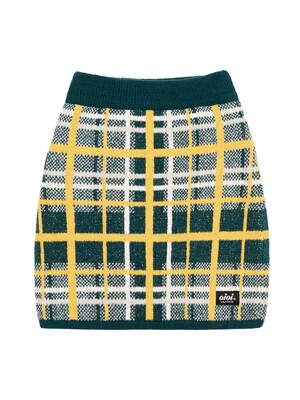CHECK BOUCLE KNIT SKIRT [GREEN]