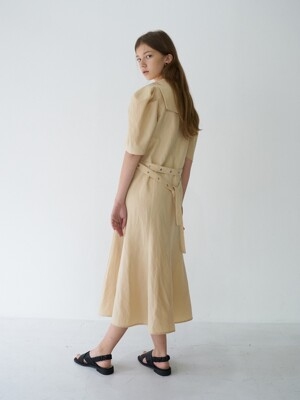 21' Spring_ Creme Brulee Puff Sleeve Dress
