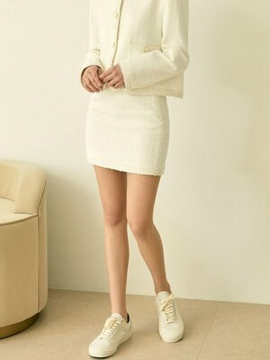 Classic Tweed Mini Skirt (White)